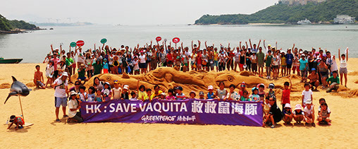 Over 150 people sculpt a giant porpoise (8 m long, 1 m high) with sand on Discovery Bay beach on 'International Save the Vaquita Day' and call on Hong Kong government to take urgent action to help protect the Vaquita by cracking down on the smuggling of the totoaba fish maw (bladder).  Greenpeace and Greenfooter (a parent-child group) is campaigning to save theVaquita, which is being driven to extinction as they are being caught in gillnets meant for catching totoaba.  Discovery Bay · Hong Kong | 12 Jul 2015